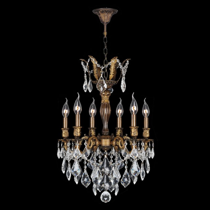 "Worldwide Lighting W83333B19 Versailles 6 Light 1 Tier 19"" Antique"