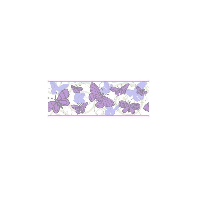 York Wallcoverings BS5404B Room To Grow Butterfly Border Soft Grey