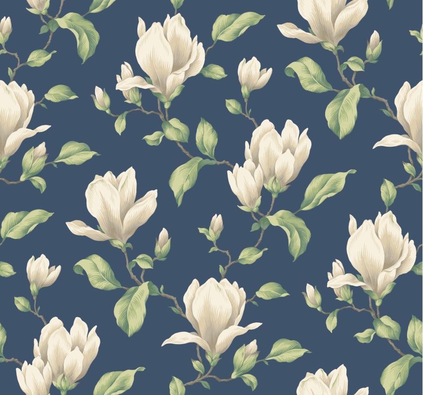 York Wallcoverings AK7422 Blue Book Magnolia Branch Wallpaper Blue