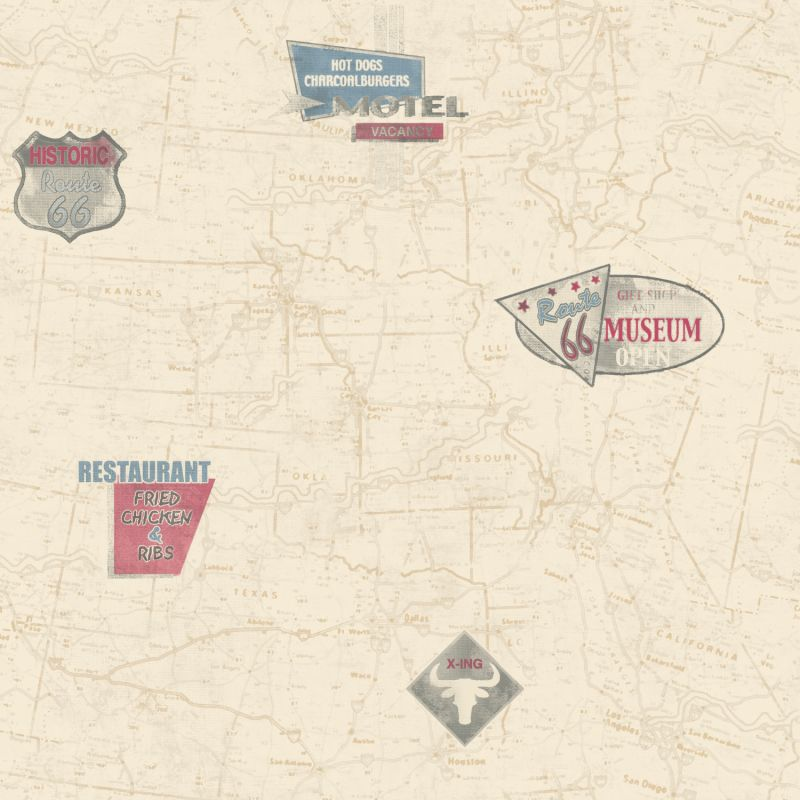 York Wallcoverings AM8787 Route 66 Map With Signs Wallpaper Ecru / Tan