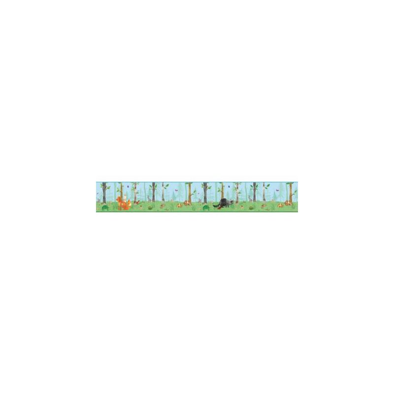 York Wallcoverings BS5331BD Room To Grow Woodland Border Blue Green