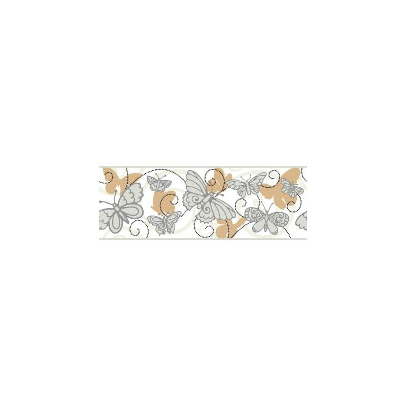 York Wallcoverings BS5402B Room To Grow Butterfly Border White Grey