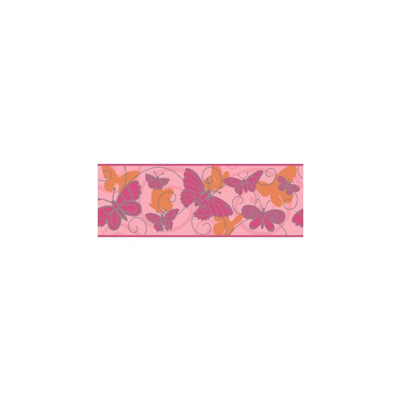 York Wallcoverings BS5406B Room To Grow Butterfly Border Soft Pink