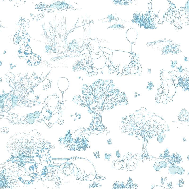 York Wallcoverings DS7868 Pooh & Friends Toile Wallpaper Blue / White