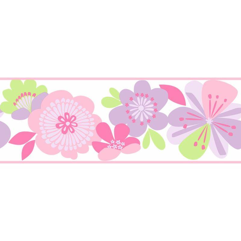 York Wallcoverings KS2225B Cool Kids Large Floral Border Lavender /
