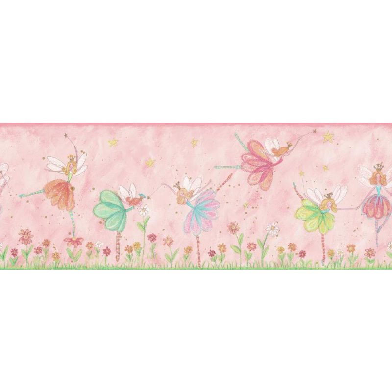 York Wallcoverings KZ4222B Fairy Border Pink / Blue / Green Home Decor