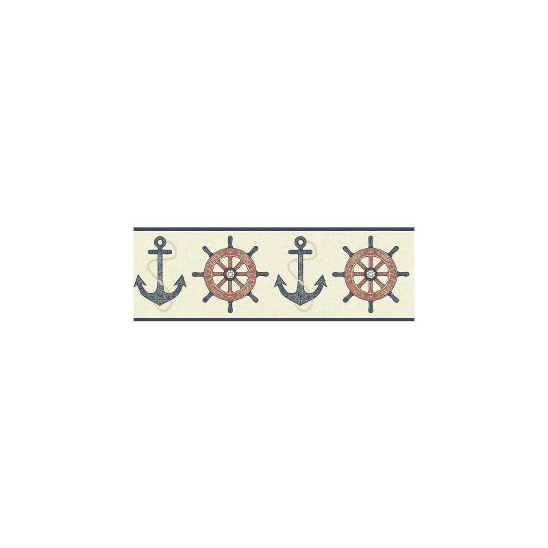 York Wallcoverings NY4801B Nautical Living Nautical Spot Border Cream