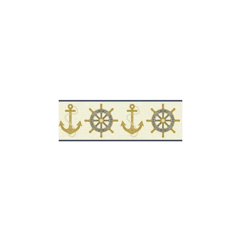 York Wallcoverings NY4802B Nautical Living Nautical Spot Border Cream