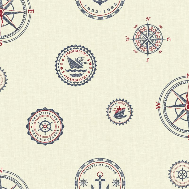 York Wallcoverings NY4808 Nautical Living Nautical Spot Wallpaper Warm