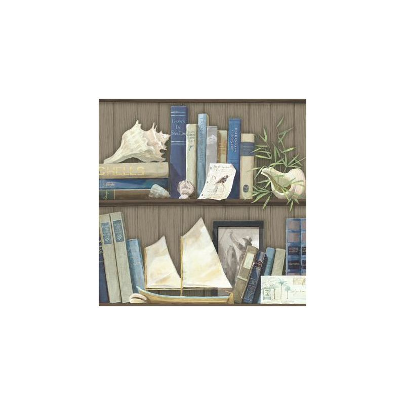 York Wallcoverings NY4890 Nautical Living Coastal Library Wallpaper