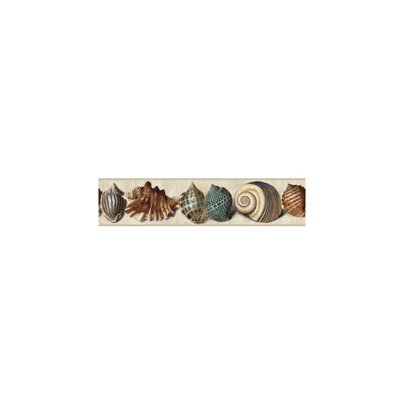 York Wallcoverings NY4896BD Nautical Living Shell Border Tan Robins