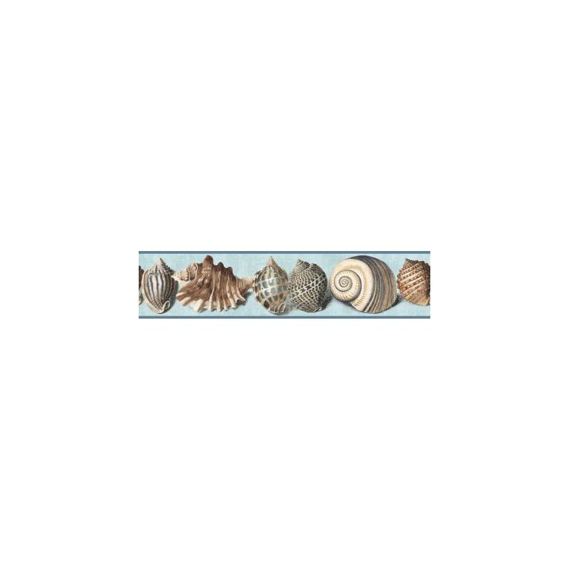 York Wallcoverings NY4897BD Nautical Living Shell Border Chambray