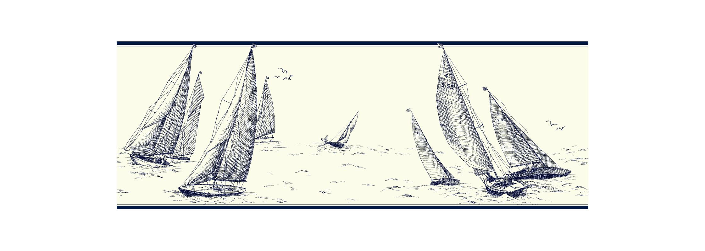 York Wallcoverings NY4921B Nautical Living Sailboat Border Off White