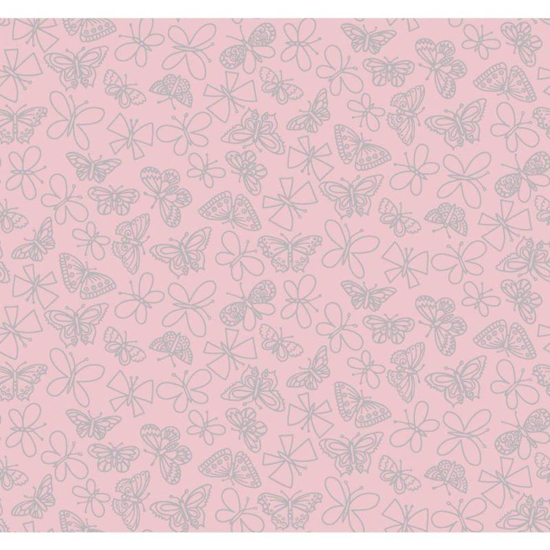 York Wallcoverings PW4024 Glitter Butterfly Wallpaper Light Pink Home