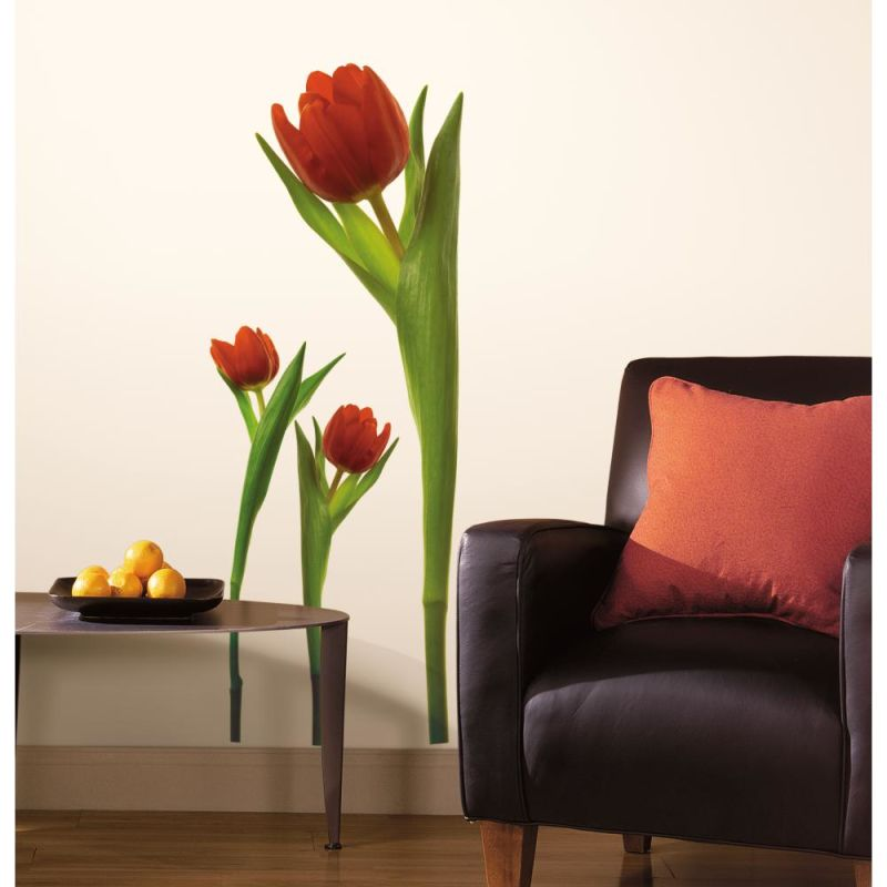 York Wallcoverings RMK1308GM RoomMates Tulips Peel & Stick Wall Decals