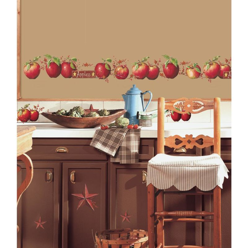 York Wallcoverings RMK1570SCS RoomMates Country Apples Peel & Stick