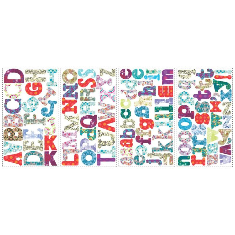 York Wallcoverings RMK1776SCS RoomMates Boho Alphabet Peel & Stick