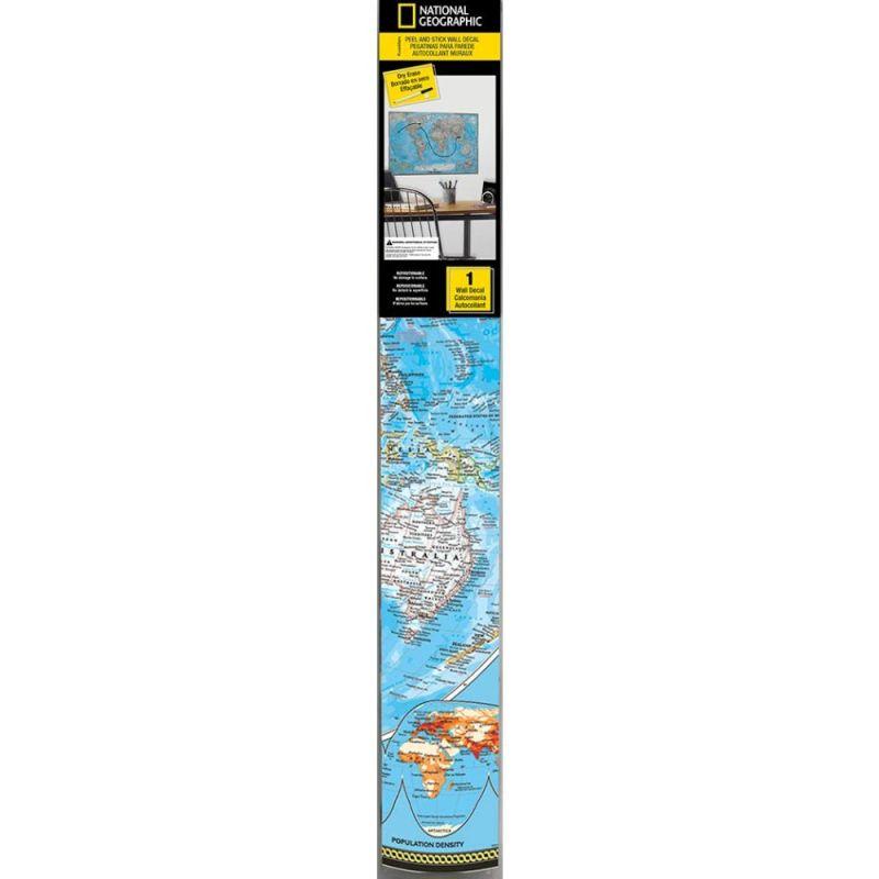 York Wallcoverings RMK2362SLM World Map Dry Erase Peel and Stick Giant