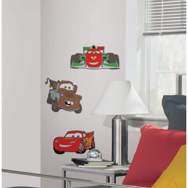 York Wallcoverings RMK2380FLT RoomMates Cars 2 Foam Characters Red