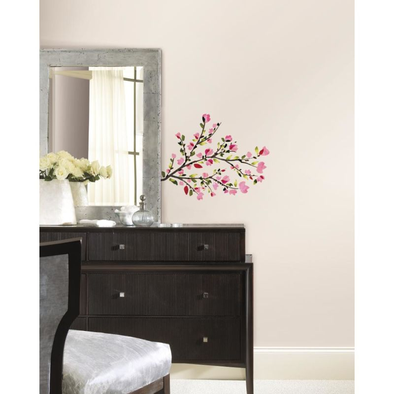 York Wallcoverings RMK2408SCS RoomMates Pink Blossom Branches Peel &