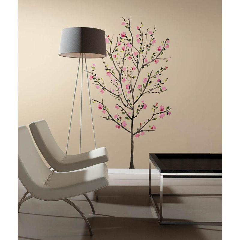 York Wallcoverings RMK2460SLM RoomMates Pink Blossom Tree Peel & Stick