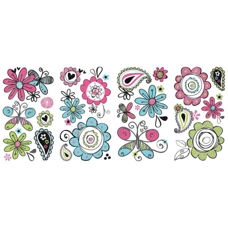 York Wallcoverings RMK2616SCS Glitter Doodlerific Floral Peel and Sale $15.49 ITEM: bci2666811 ID#:RMK2616SCS UPC: 34878623634 :