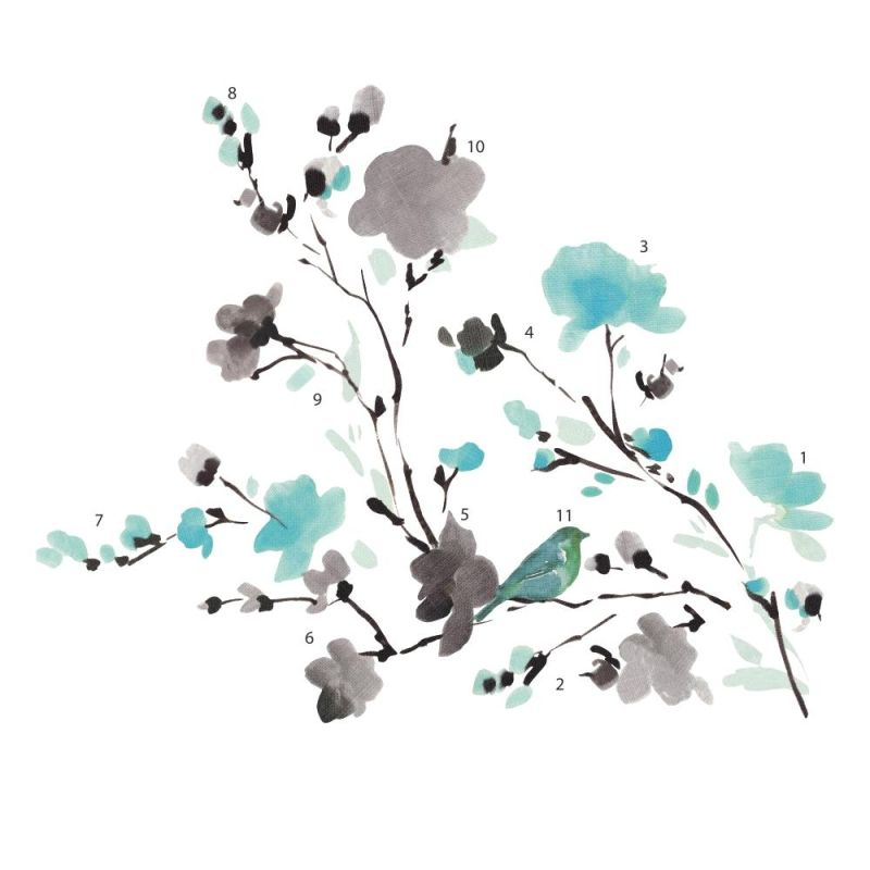 York Wallcoverings RMK2687SCS Blossom WaterColor Bird Branch Peel and
