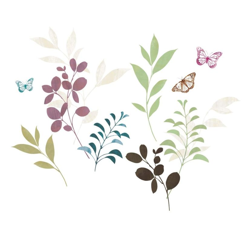 York Wallcoverings RMK2688SCS Botanical Butterfly Peel and Stick Wall