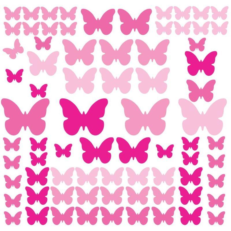 York Wallcoverings RMK2713SCS Pink Flutter Butterflies Peel and Stick