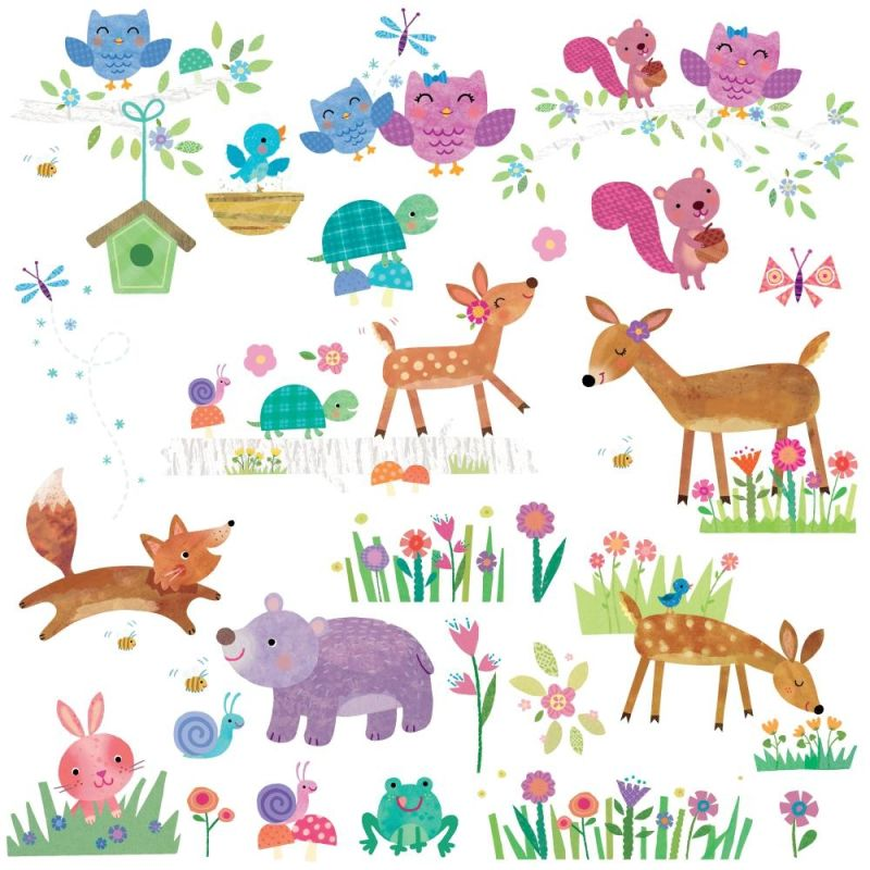 York Wallcoverings RMK2775SCS Woodland Baby Peel and Stick Wall Decals
