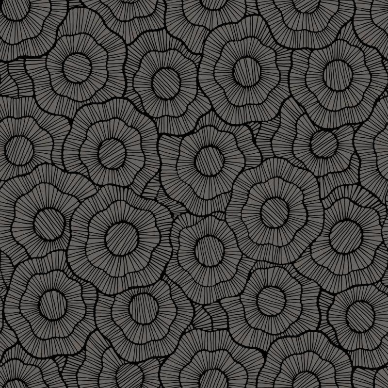York Wallcoverings ST6002 Paper Muse Wild Poppies Wallpaper Dark Grey