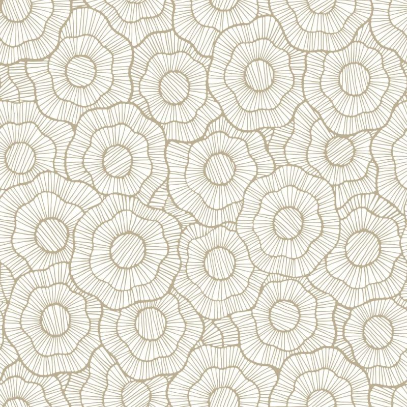 York Wallcoverings ST6003 Paper Muse Wild Poppies Wallpaper Cream