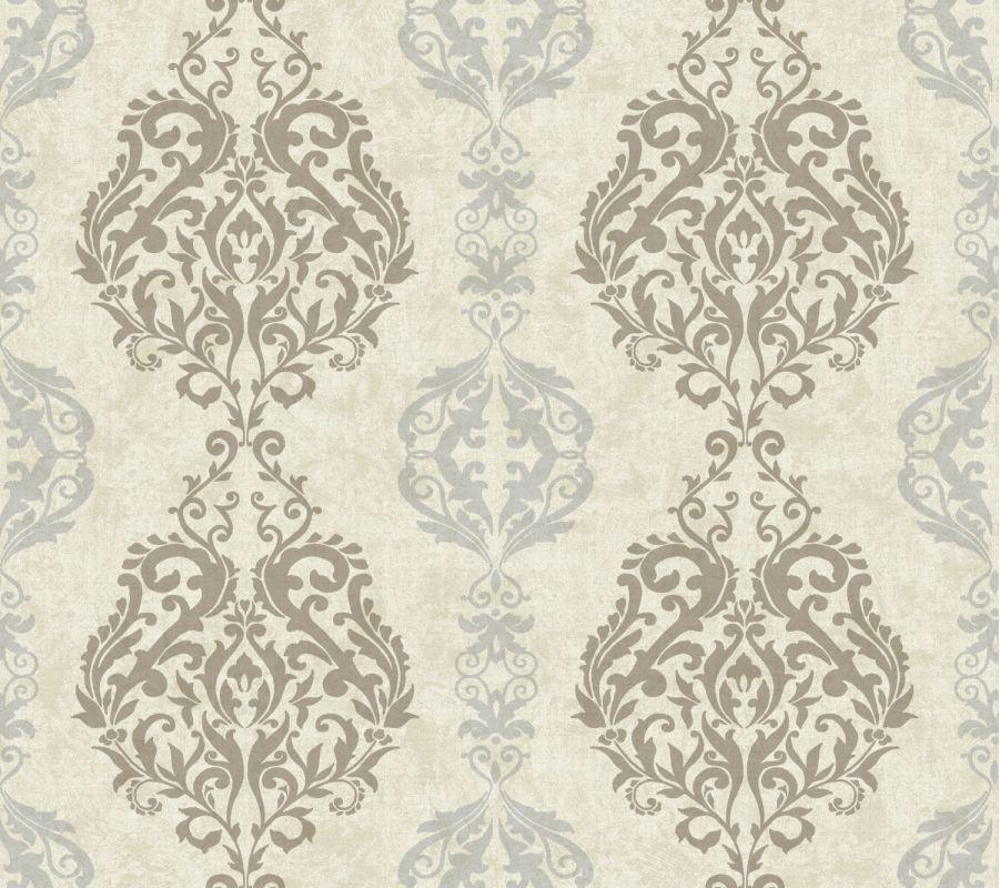 York Wallcoverings WB5436 Botanical Fantasy Damask Stripe Wallpaper