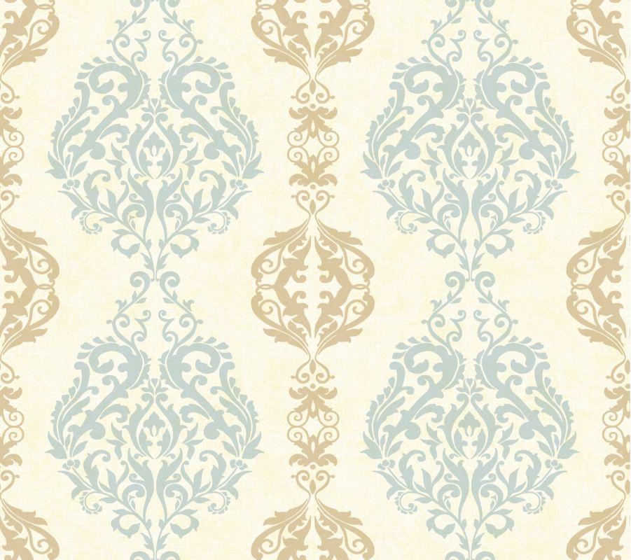 York Wallcoverings WB5437 Botanical Fantasy Damask Stripe Wallpaper