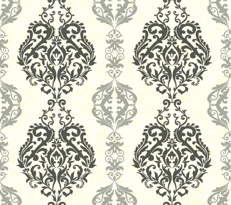 York Wallcoverings WB5438 Botanical Fantasy Damask Stripe Wallpaper