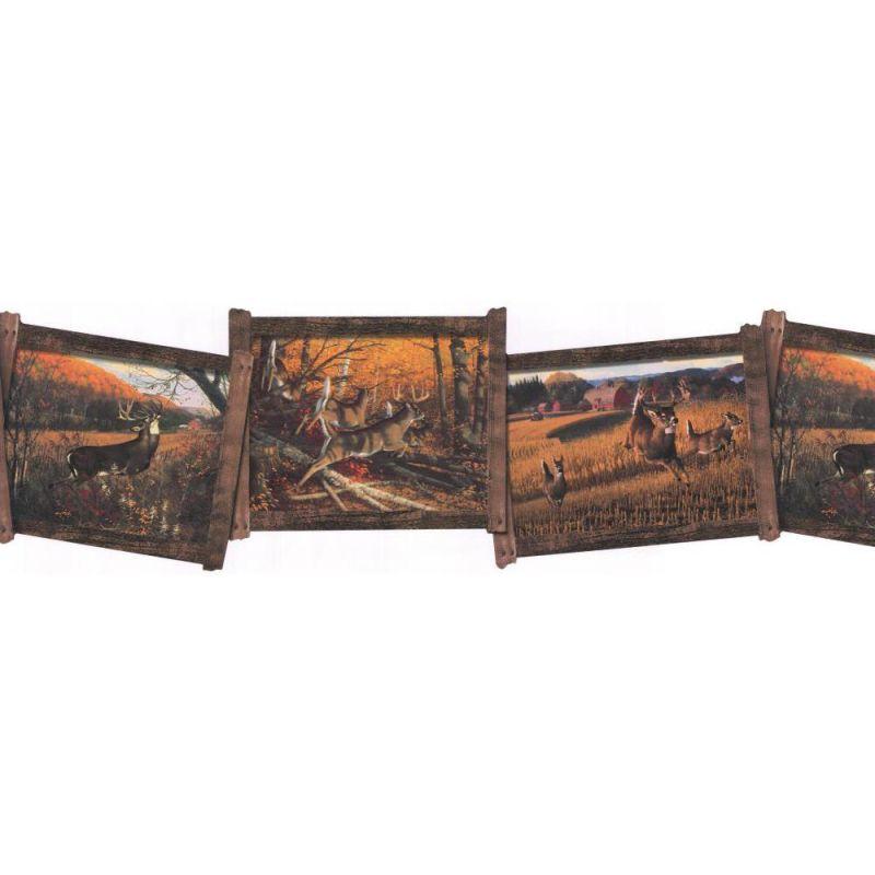 York Wallcoverings WD4105B Whitetail Framed Deer Border Orange / Brown