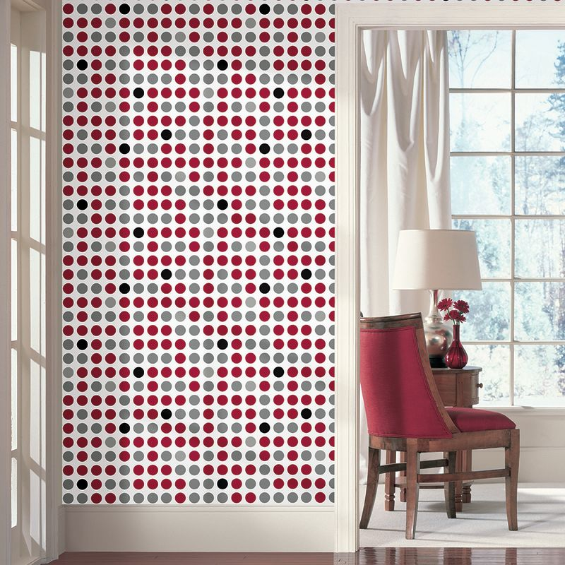 York Wallcoverings WIB1012 Retro Dots WallA Box Kit Silver Metallic /