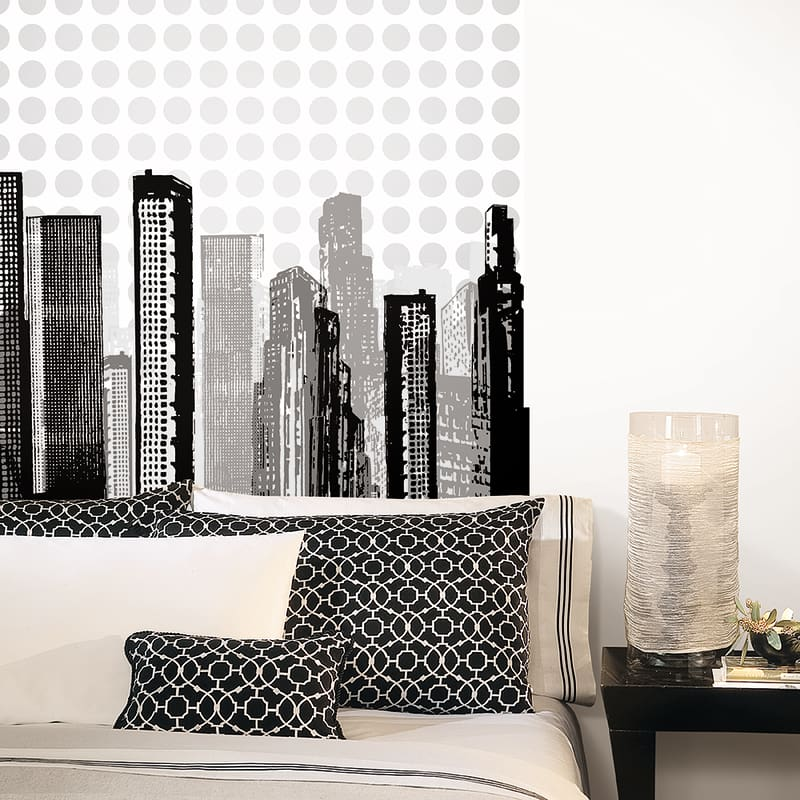 York Wallcoverings WIB1017 Skyline WallA Box Kit Metallic Silver with