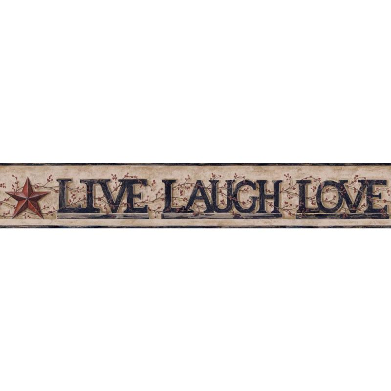 York Wallcoverings YC3344BD Live Laugh Love Word Block Border Taupe