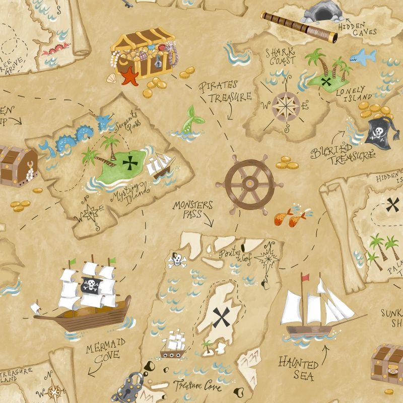 York Wallcoverings YS9294 Pirate Map Wallpaper Sand Beige / Medium