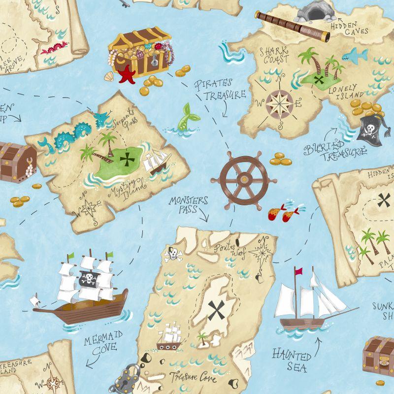 York Wallcoverings YS9295 Pirate Map Wallpaper Sky Blue / Sand Beige /