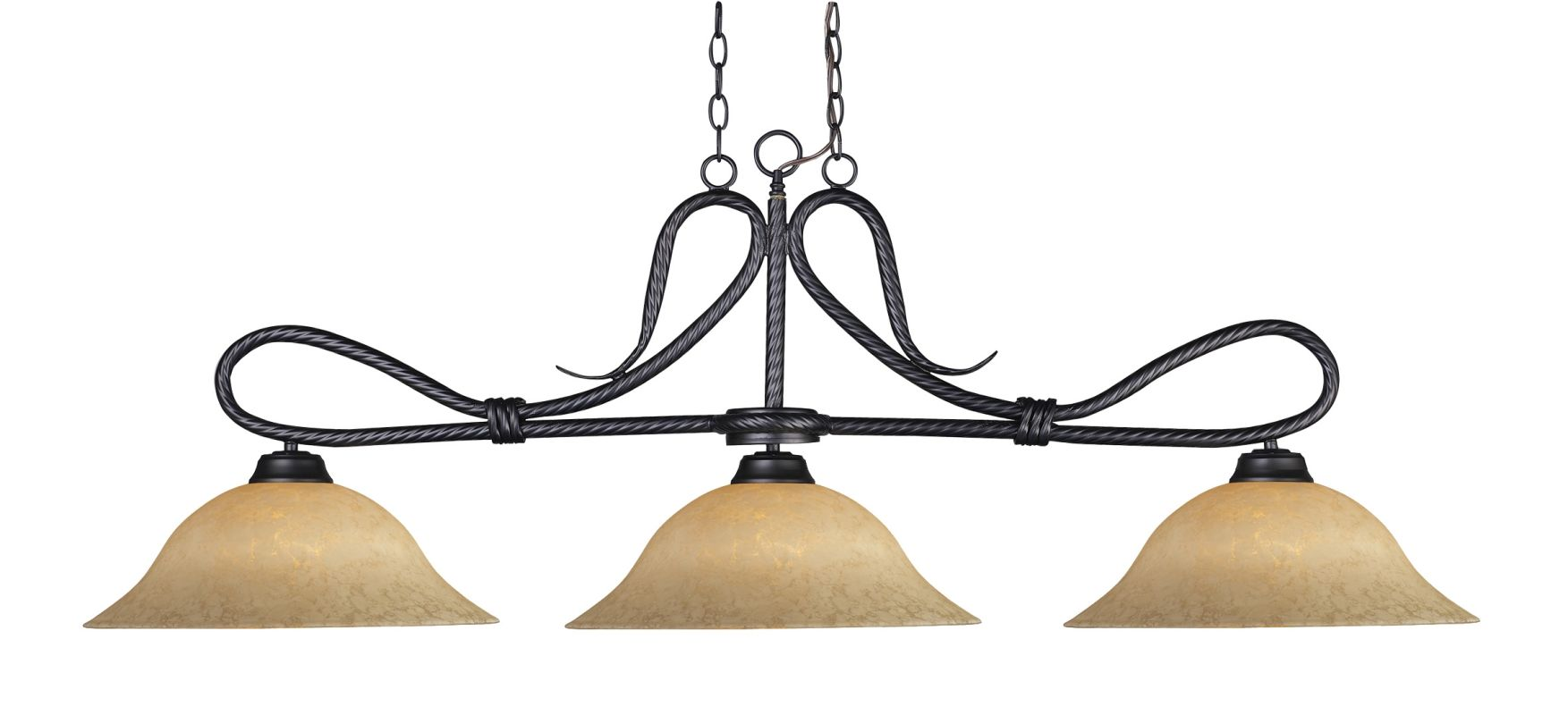 Z-Lite 137-GM16 Players 3 Light Chandelier with Golden Mottle Glass