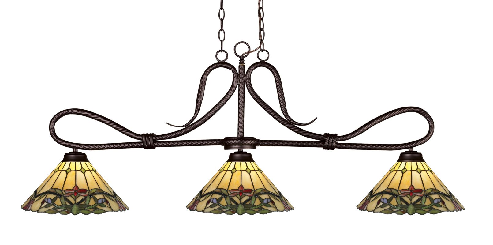 Z-Lite 137-Z14-49 Cobra 3 Light Chandelier with Multi-Colored Tiffany Sale $846.00 ITEM: bci2519180 ID#:137BRZ-Z14-49 UPC: 685659035001 :
