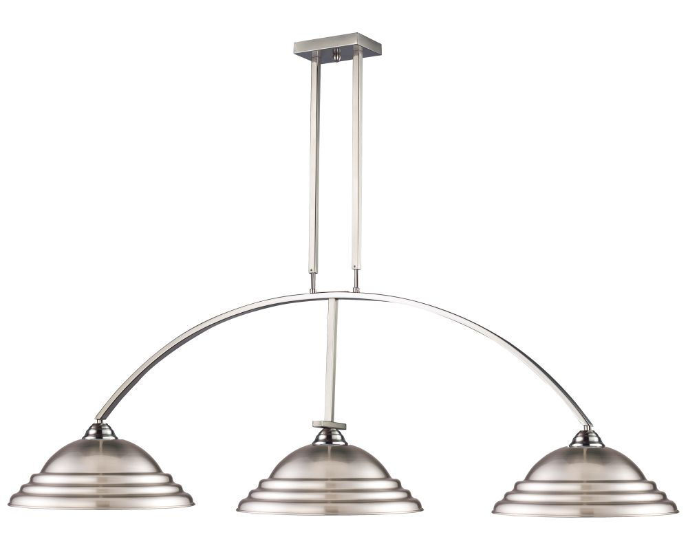 Z-Lite 151-S Martini 3 Light Chandelier with Stepped Brushed Nickel