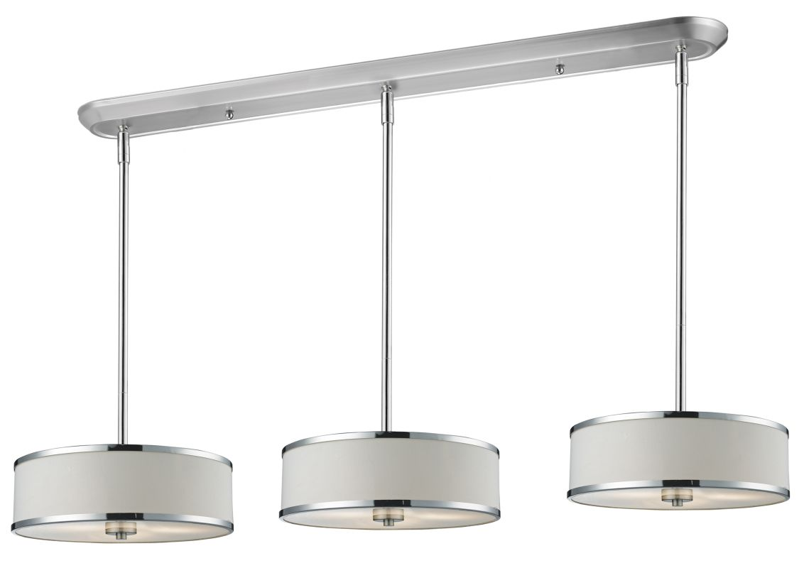 Z-Lite 164-16-3 Cameo 9 Light Pendant with White Fabric Shade Chrome