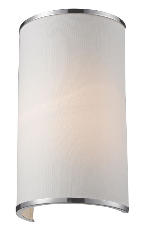 Z-Lite 164-1S Cameo 1 Light Wall Sconce with White Fabric Shade Chrome