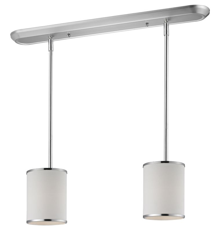 Z-Lite 164-6-2 Cameo 2 Light Pendant with White Fabric Shade Chrome Sale $342.00 ITEM: bci2219251 ID#:164-6-2 UPC: 685659019667 :