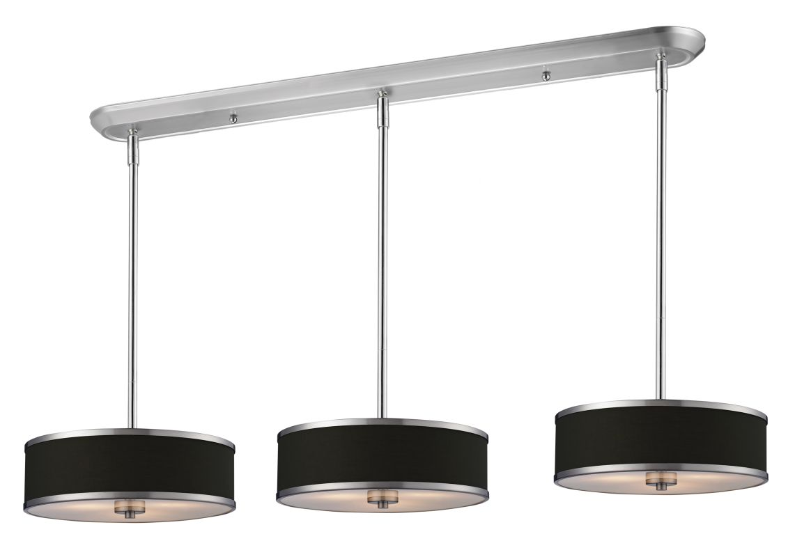 Z-Lite 168-16-3 Cameo 9 Light Pendant with Black Fabric Shade Chrome