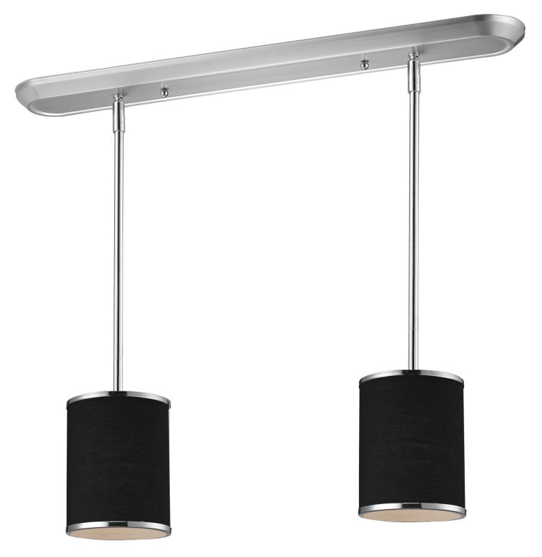 Z-Lite 168-6-2 Cameo 2 Light Pendant with Black Fabric Shade Chrome
