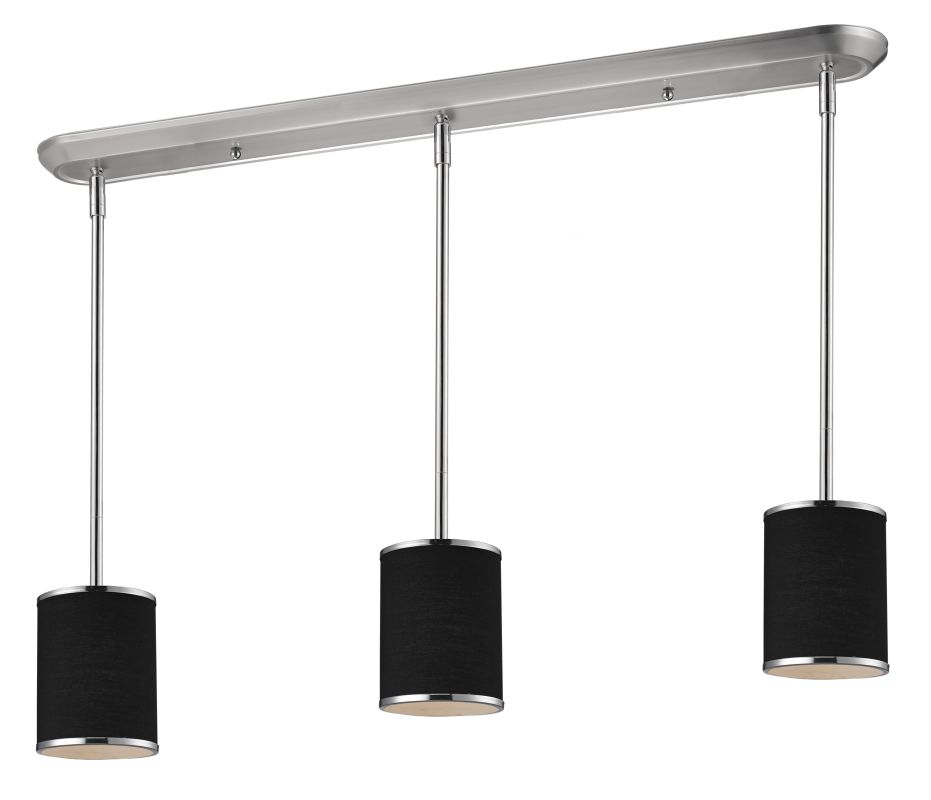 Z-Lite 168-6-3 Cameo 3 Light Pendant with Black Fabric Shade Chrome